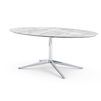 Shown in Arabescato White-Grey Coated Marble top with Satin Chrome base finish, 98-Inch