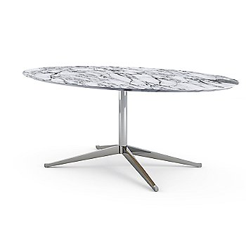 Shown in Nero Marquina Black Coated Marble top with Satin Chrome base finish, 98-Inch