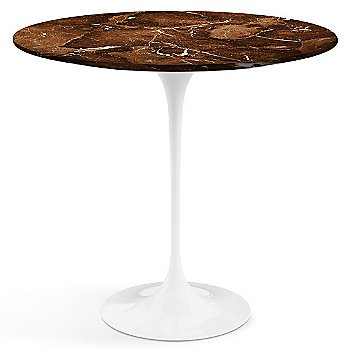 Espresso Brown Satin Coated Marble top with White Base