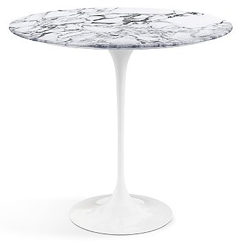 Arabescato White Grey Satin Coated Marble top with White base