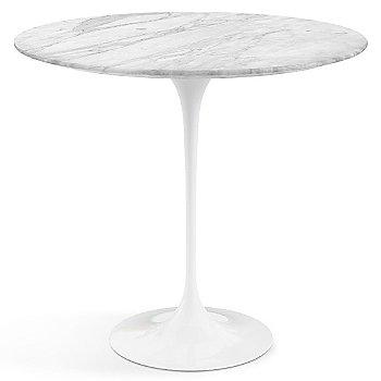 Carrara White Grey Satin Coated Marble top with White base
