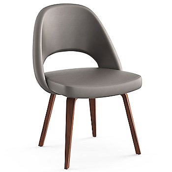 Shown in Volo Leather: Flint Fabric Color, Light Walnut Leg Finish