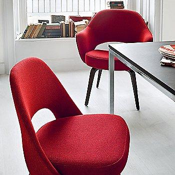Shown in Ebonized Walnut Leg Finish, Classic Boucle: Crimson Fabric Color