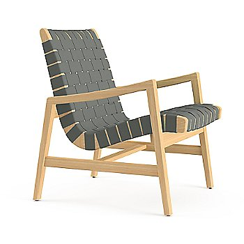 Shown in Black Cotton Webbing material with Light Walnut frame finish