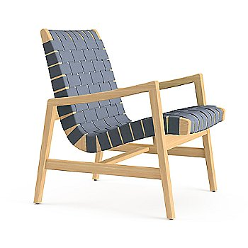 Shown in Maize Cotton Webbing material with Light Walnut frame finish