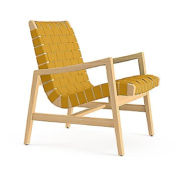 Shown in Maize Cotton Webbing material with Ebonized Maple frame finish