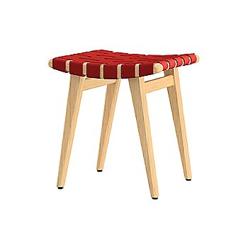 Shown in Red Cotton Webbing material with Clear Maple frame finish