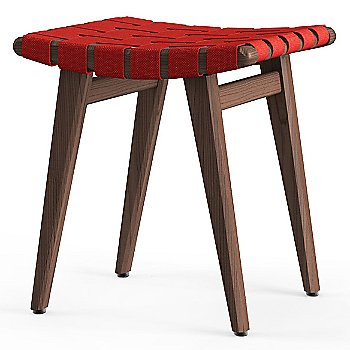 Shown in Red Cotton Webbing material with Light Walnut frame finish