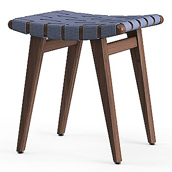 Shown in Steel Blue Cotton Webbing material with Light Walnut frame finish