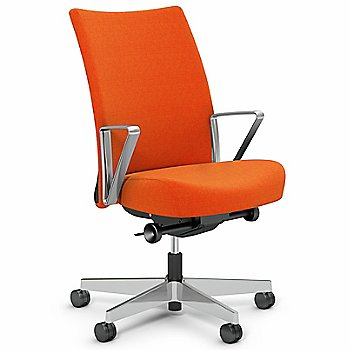 Orange fabric with Polished Aluminum base finish