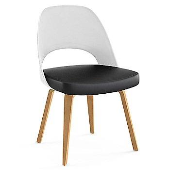 Light Oak Leg Finish / Leather: Black Seat Finish / White Plastic Back Finish