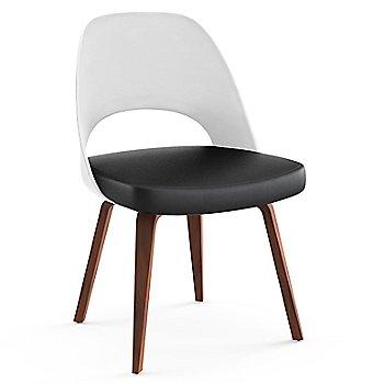 Light Walnut Leg Finish / Leather: Black Seat Finish / White Plastic Back Finish
