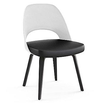 Ebonized Walnut Leg Finish / Leather: Black Seat Finish / White Plastic Back Finish