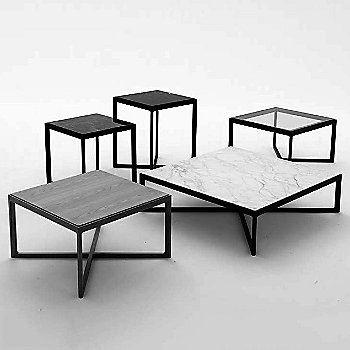 Krusin Square End Table with Glass or Laminate Table Top / collection