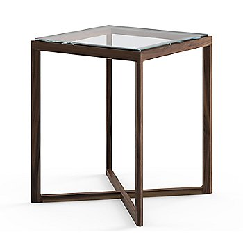Krusin Square Tall Side Table with Glass or Laminate Table Top - Clear Glass on American Walnut