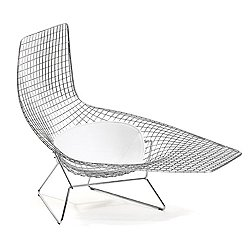 Bertoia Asymmetric Chaise with Seat Cushion, Outdoor