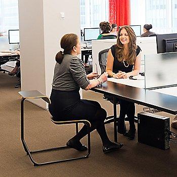 Toboggan Sled Base Chair Desk, in use
