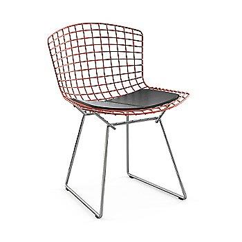 Red Basket / Polished Chrome Base / Vinyl Black Upholstery