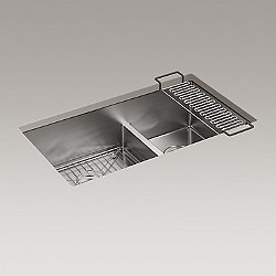 Strive Undermount Double Sink with Sink Rack