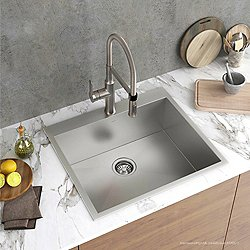 Pax Zero-Radius 25-Inch Handmade Topmount Single Bowl 16 Gauge Stainless Steel Drop-In Kitchen Sink
