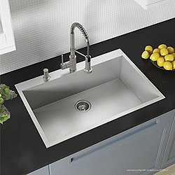 Pax Zero-Radius 33-Inch Handmade Topmount Single Bowl 16 Gauge Stainless Steel Drop-In Kitchen Sink