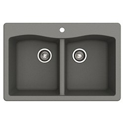 Forteza Dual Mount 50/50 Double Bowl Granite Kitchen Sink