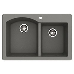 Forteza Dual Mount 60/40 Double Bowl Granite Kitchen Sink