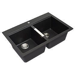 33 Inch 50/50 Double Bowl Granite Kitchen Sink with Tap Platform