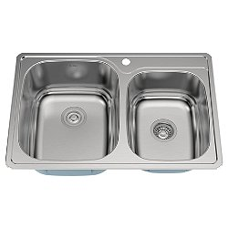 33 Inch Drop-In Double Bowl Kitchen Sink