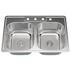 33 Inch Drop-In 50/50 Double Bowl Kitchen Sink