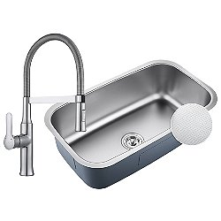 Outlast MicroShield Undermount Sink with Nola Single Handle Flex Commercial Kitchen Faucet and Soap Dispenser