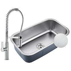 Outlast MicroShield Undermount Sink with Nola Commercial Kitchen Faucet and Soap Dispenser