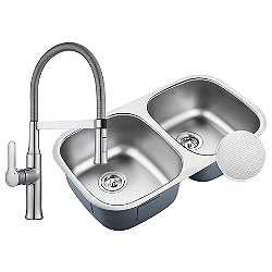 Outlast MicroShield Undermount 50/50 Double Bowl Kitchen Sink with Flex Commercial Faucet and Soap Dispenser
