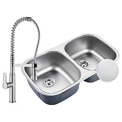 Outlast MicroShield Undermount 50/50 Double Bowl Stainless Steel Kitchen Sink with Commercial Faucet and Soap Dispenser