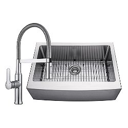 Handmade Single Bowl Stainless Steel Farmhouse Sink with Flex Commercial Faucet and Soap Dispenser
