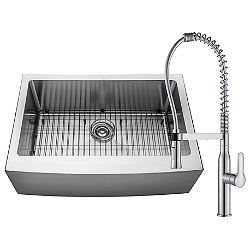 Handmade Single Bowl Stainless Steel Farmhouse Sink with Commercial Faucet and Soap Dispenser