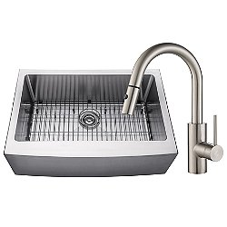 Handmade Single Bowl Stainless Steel Farmhouse Sink with Kitchen Faucet and Soap Dispenser