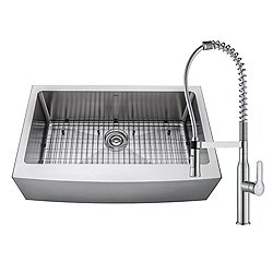 Handmade Single Bowl Stainless Steel Farmhouse Sink with Nola faucet and Soap Dispenser