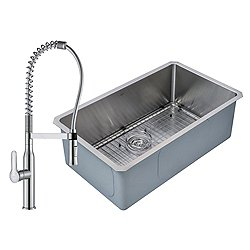 Handmade Single Bowl Stainless Steel Undermount Sink with Nola Commercial Faucet and Soap Dispenser