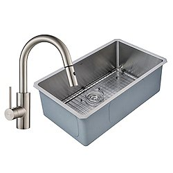 Handmade Single Bowl Stainless Steel Undermount Sink with Oletto Faucet and Soap Dispenser