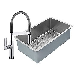 Handmade Single Bowl Stainless Steel Undermount Sink with Nola Flex Faucet and Soap Dispenser