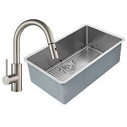 Handmade Undermount Single Bowl Stainless Steel Sink with Oletto Faucet and Soap Dispenser