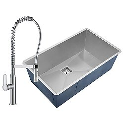 Pax Undermount Stainless Steel Single Bowl Sink with Nola Faucet and Soap Dispenser