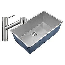 Pax Zero-Radius Undermount Sink with Oletto Faucet and Soap Dispenser