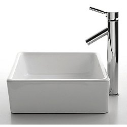 White Square Sink and Sheven Faucet