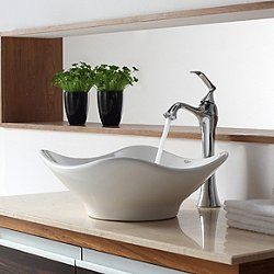 White Tulip Sink and Ventus Faucet