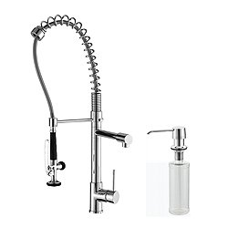 Single Handle Pull Down Kitchen Faucet Commercial Style Pre-Rinse and Soap Dispenser