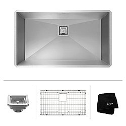 Pax Zero-Radius 31.5 Inch 16 Gauge Handmade Undermount Single Bowl Stainless Steel Kitchen Sink