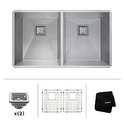 Pax Zero-Radius 31.5 Inch 16 Gauge Handmade Undermount 50/50 Double Bowl Stainless Steel Kitchen Sink