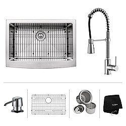 30 Inch Farmhouse Single Bowl Stainless Steel Kitchen Sink with  Kitchen Faucet and Soap Dispenser